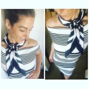 NWT Fashion Union White And Navy Striped Dress